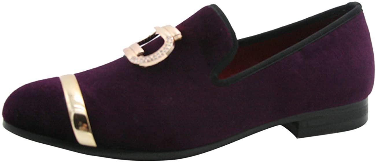 Men Velvet Loafers Slip-on Metallic Buckle Fashion Smoking Slipper Glitter Casual Dress Shoes Black Purple Blue