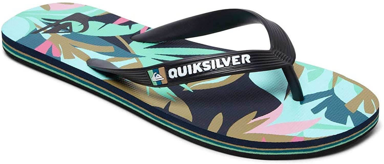 Quiksilver Molokai Tropical Flow Flip Flops - Black/Green/Black - UK
