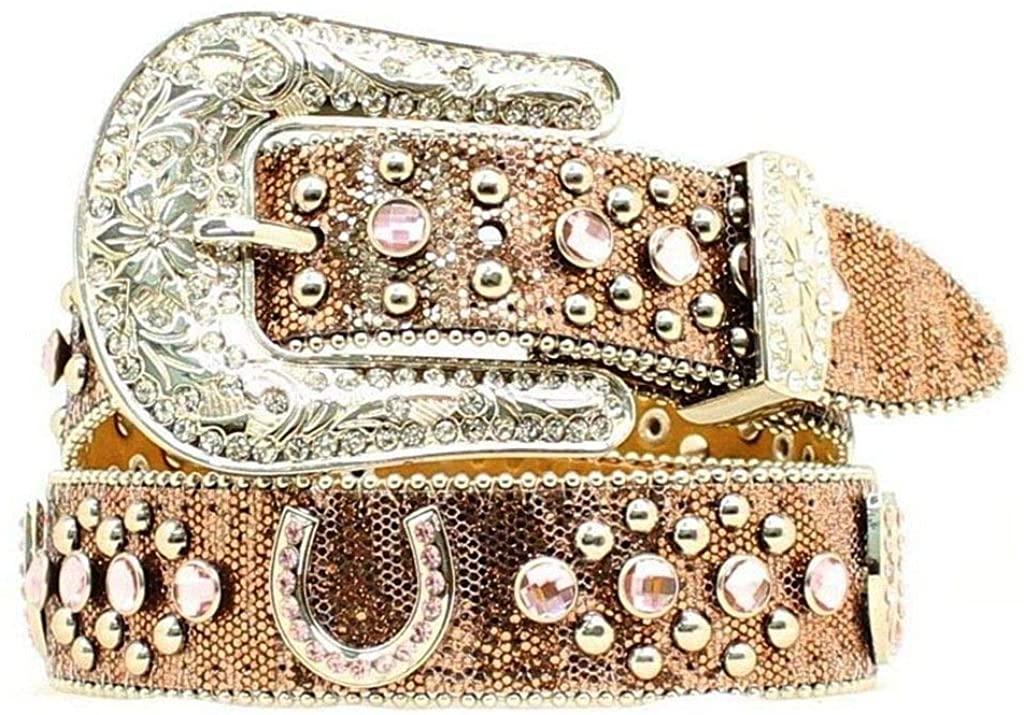 Nocona Girls' Glittery Horseshoe Concho Western Belt - N4411030