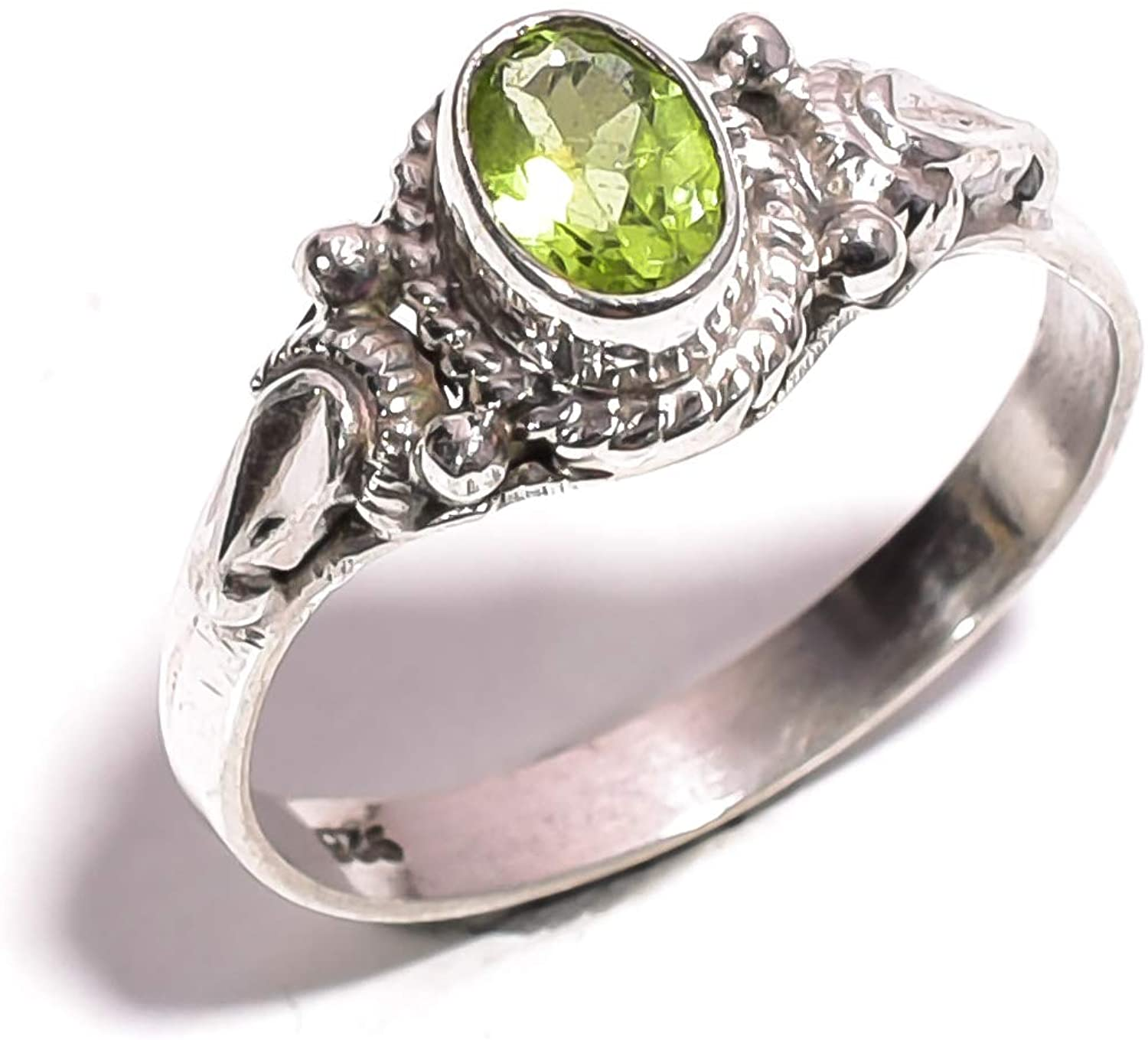 Mughal gems & jewellery 925 Sterling Silver Ring Natural Peridot Gemstone Fine Jewelry Ring for Women & Girls Size 7.25 U.S (ZR-754