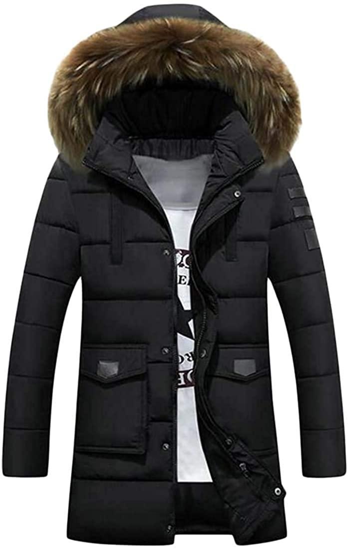 Hhxgcfgyd Mens Full-Zipper Hooded Puffer Parkas Coat Slim Fit Winter Down Jacket