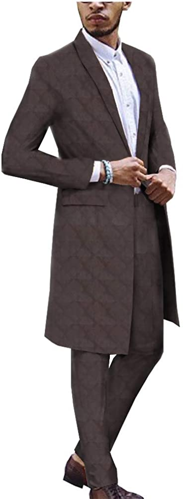 African Print Clothing for Men One Button Slim Fit Long Jacket and Pants Suit Dashiki Outwear Jacquard Silk