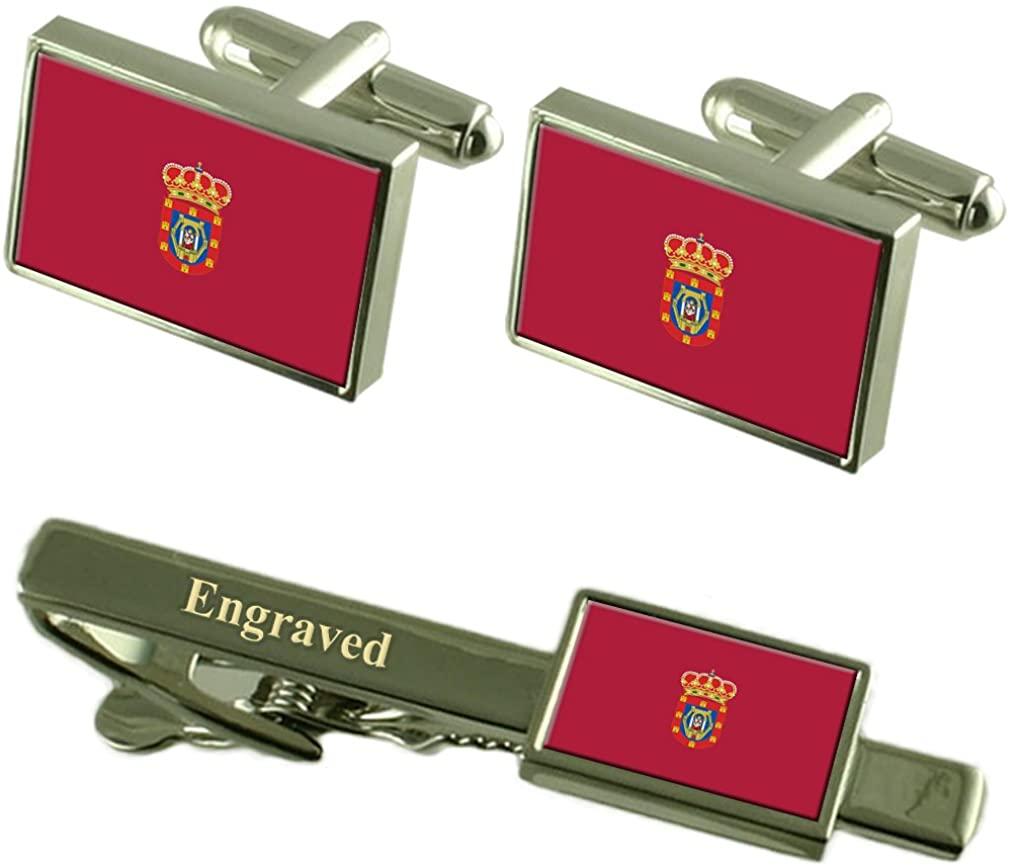 Ciudad Real City Spain Flag Cufflinks Engraved Tie Clip Set