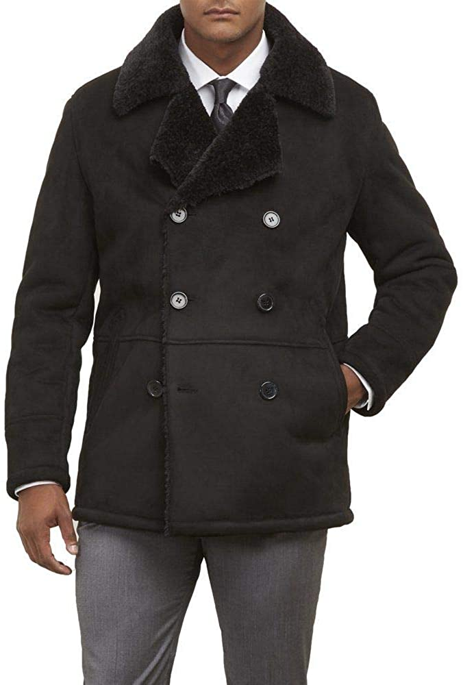 Kenneth Cole New York Mens Double Breasted Faux Shearling Jacket w/Notch