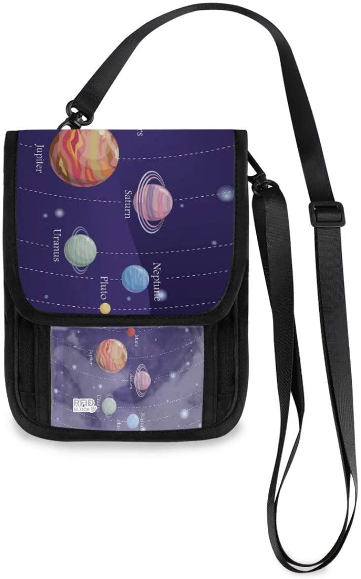 Travel Wallet Neck Pouch - Universe Galaxy Astronomy Passport Holder with RFID Blocking for Women Men Lightweight Travel Pouch