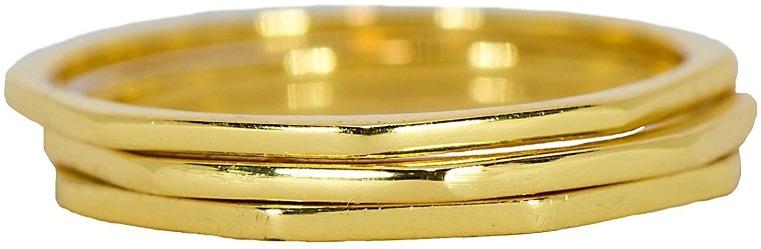 Pura Vida Gold Plated Delicate Stacked Rings - Brass Base .925 Sterling Silver - Size 5-9