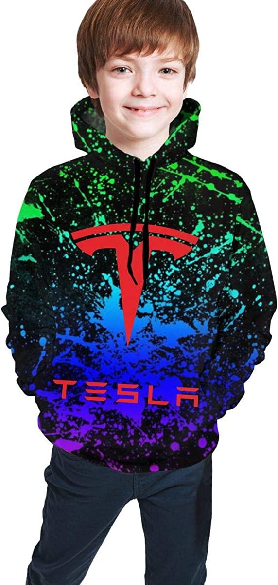 Teen Fashion Te-SLA Hoodie 3D Printed Sweatshirt Boy Girl Outdoor Pullover
