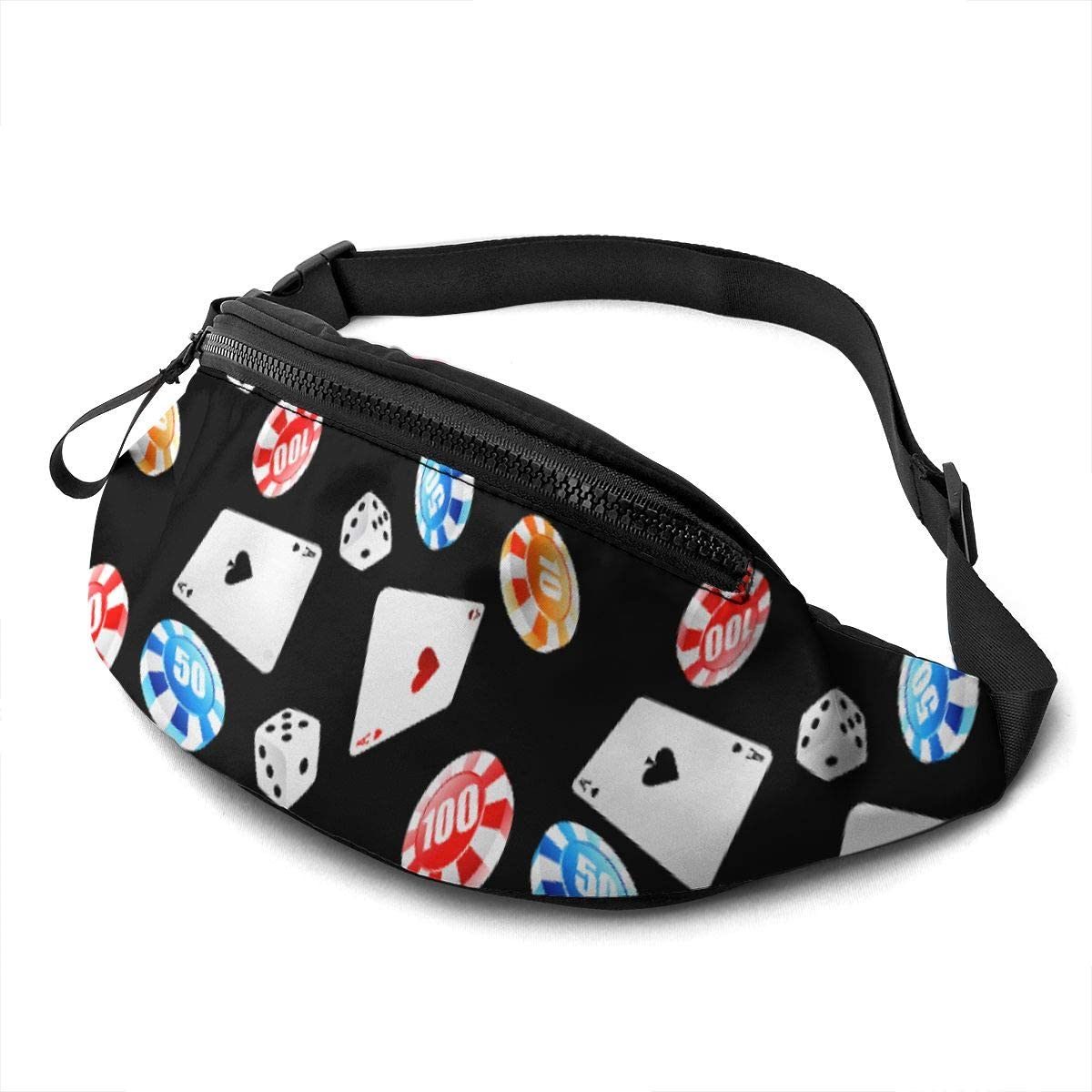 Poker And Dice Fanny Pack For Men Women Waist Pack Bag With Headphone Jack And Zipper Pockets Adjustable Straps