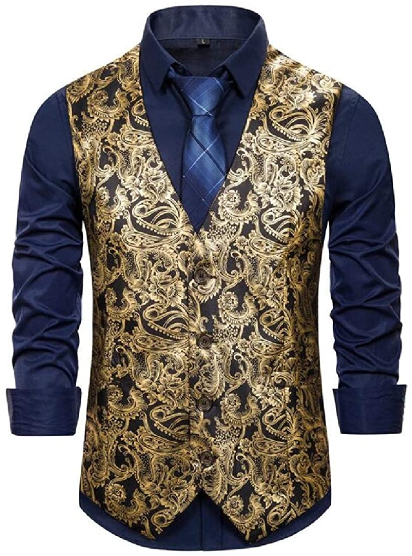 SHOWNO Mens Single Breasted Gilding Vest Paisley Sleeveless Casual Business Dress Suit Vest Waistcoat