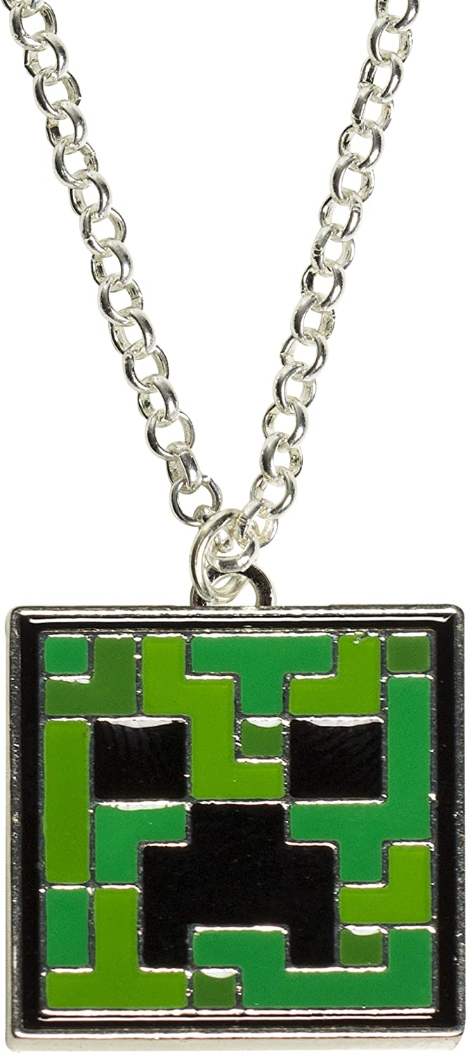 JINX Minecraft Creeper Face Pendant Necklace for Teen Girls and Women ,MultiColor ,One Size