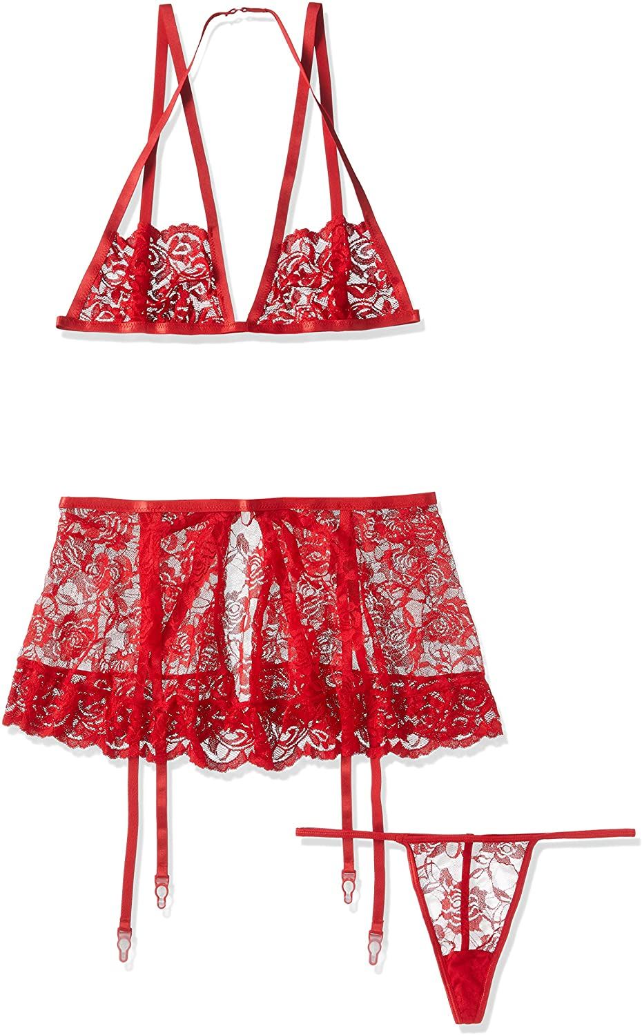 Dreamgirl Women's 3-Piece Lace Bralette, Garter Skirt and G-String Set