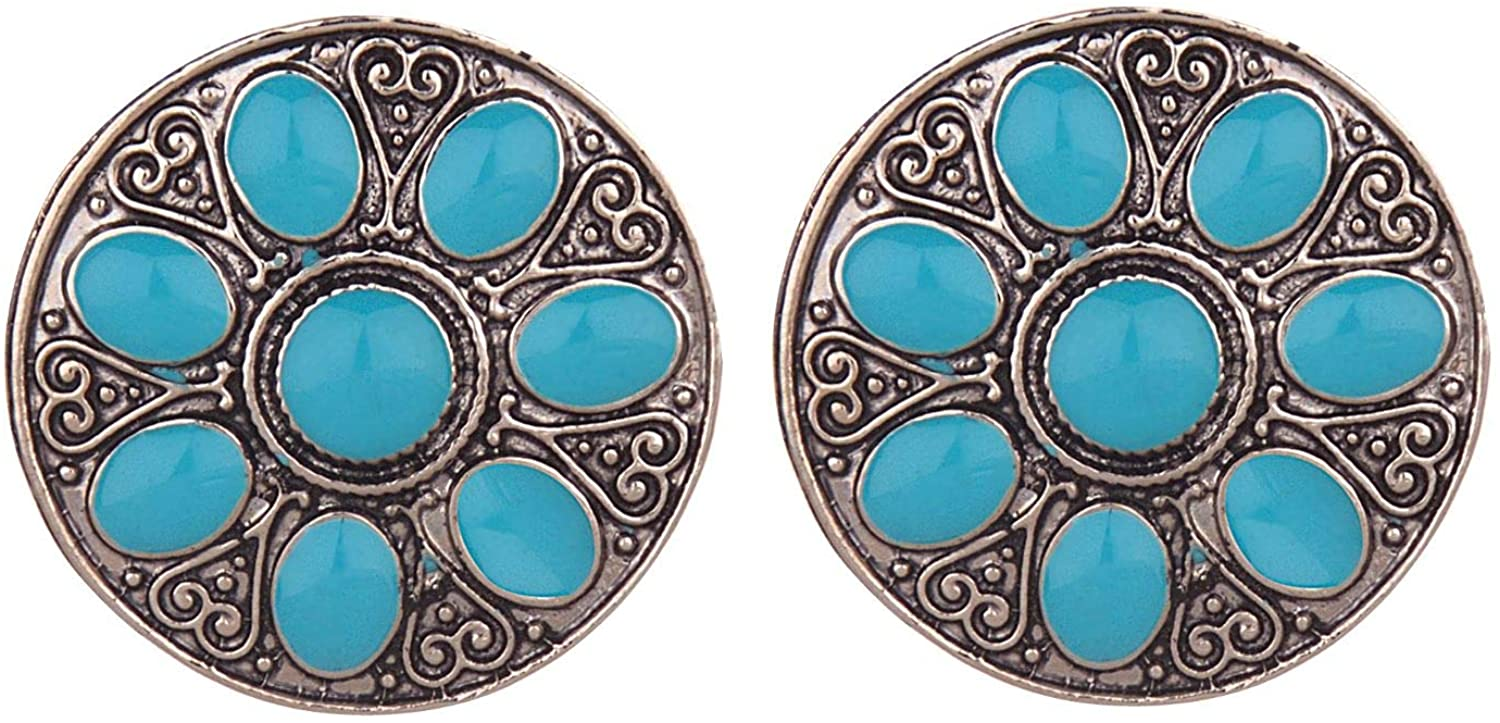 Efulgenz Boho Vintage Antique Ethnic Gypsy Tribal Indian Oxidized Silver Stone Round Big Stud Earring Set Jewelry