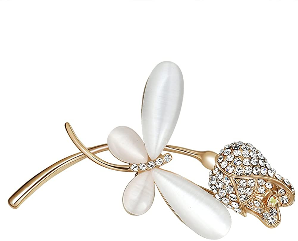 YAZILIND Cute Dragonfly Rose Flower Clothing Accessories Exquisite Cubic Zirconia Brooch Pin for Women Girls