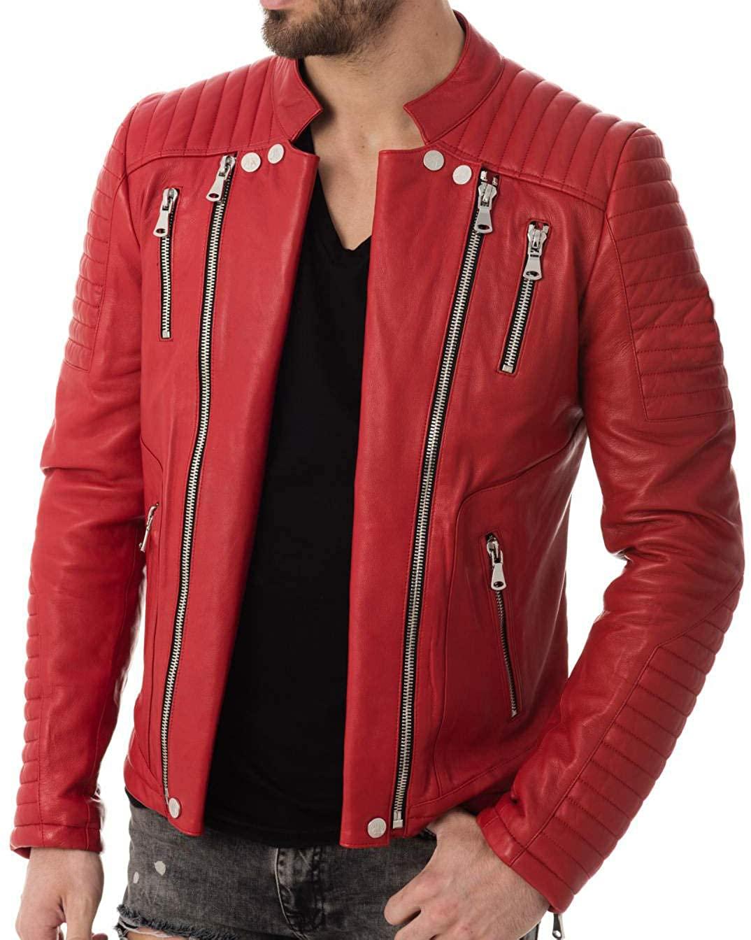 Men's Genuine Lambskin Leather Jacket MJ 165