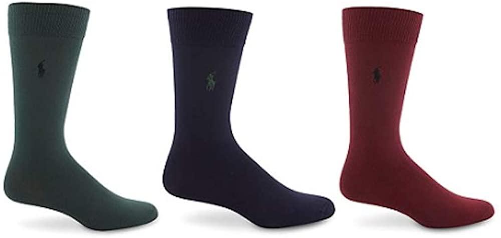 Polo Ralph Lauren Mens 3 Pack Super-Soft Pony Logo Antimicrobial Dress Socks