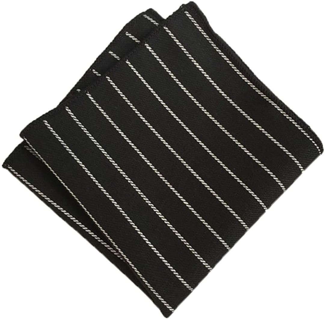 MENDENG Mens Black White Stripe Pocket Square Wedding Party Hanky Handkerchief