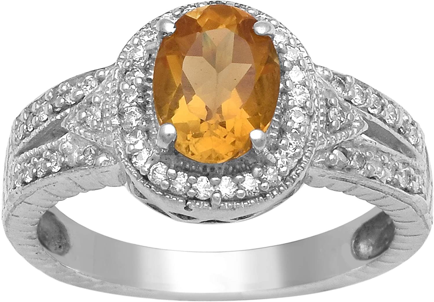 Shine Jewel Champagne Citrine 1.500 Ctw Gemstone 925 Sterling Silver Solitaire Accents Ring