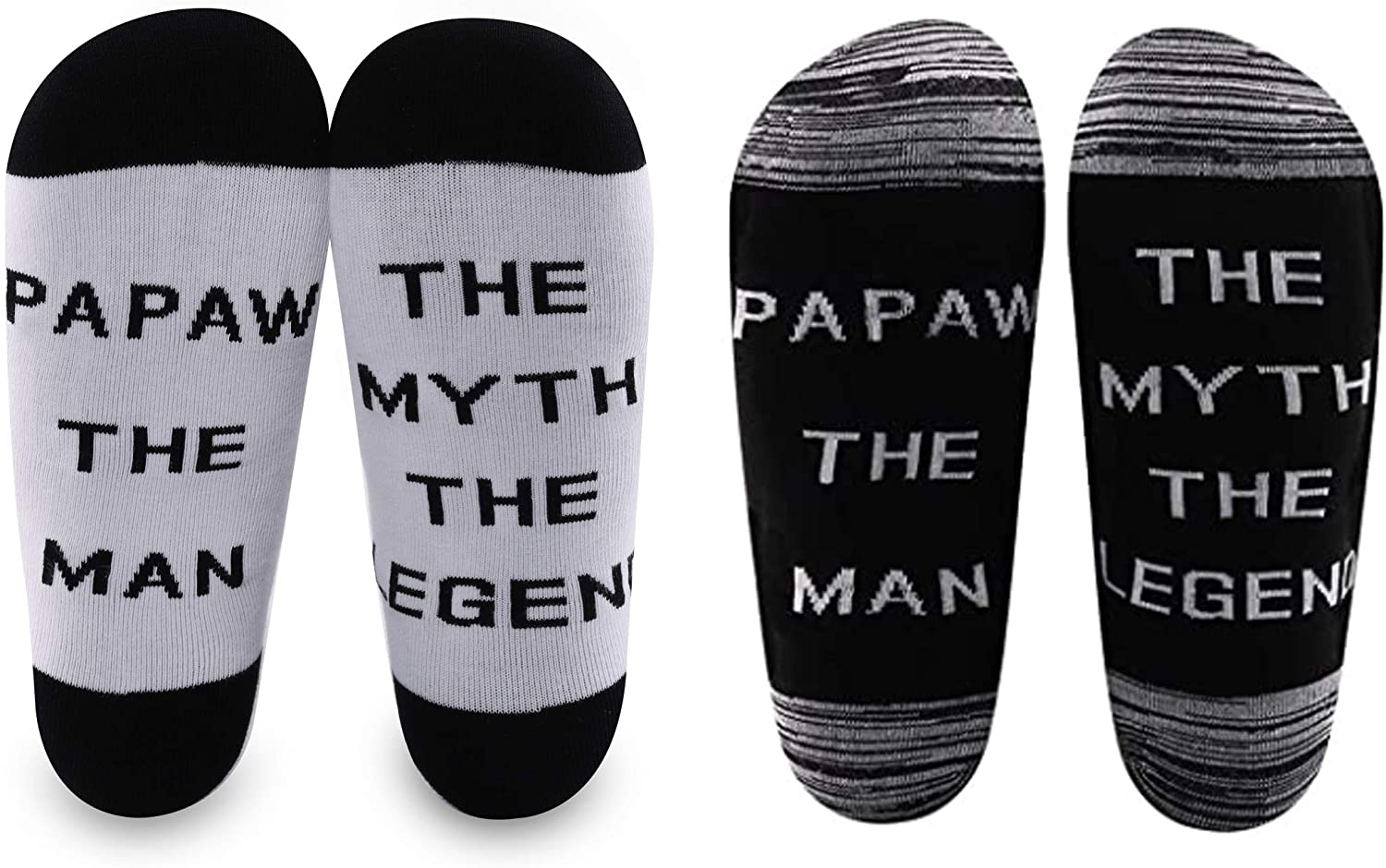 LEVLO Father's Day Gift Papaw Socks Papaw The Man The Myth The Legend Cotton Socks Gift for Grandpa Dad
