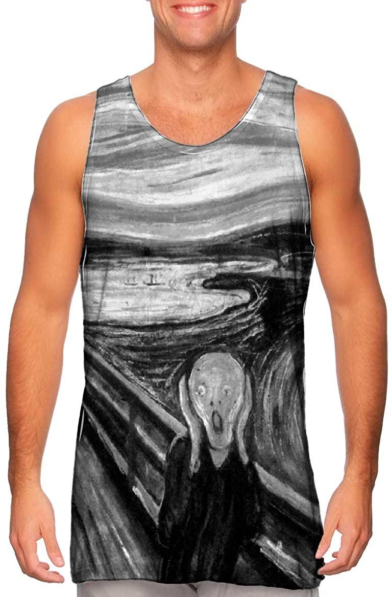 Yizzam- Pop Art - Munch Scream Black White (1893) -Tshirt- Mens Tank Top