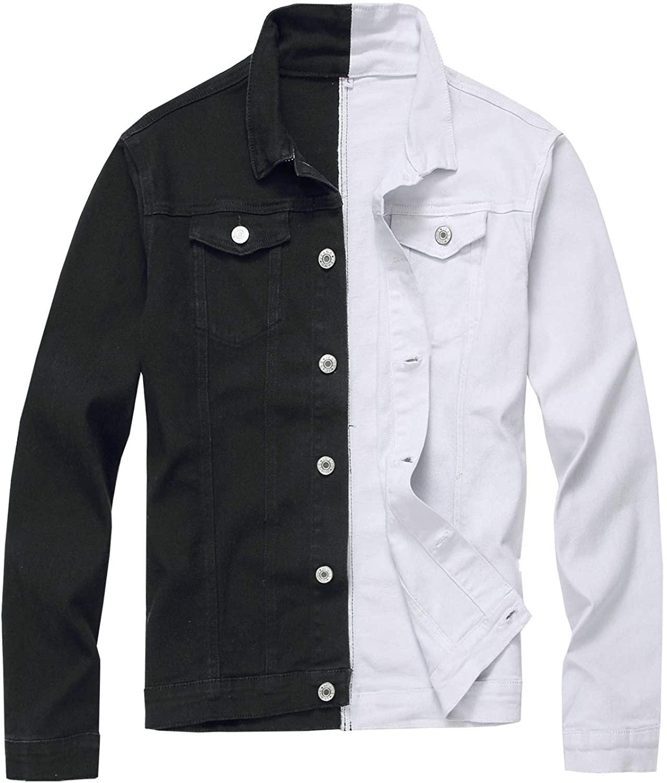 SCOFEEL Men's Patchwork Denim Jacket Slim Button Down Trucker Jeans Jacket