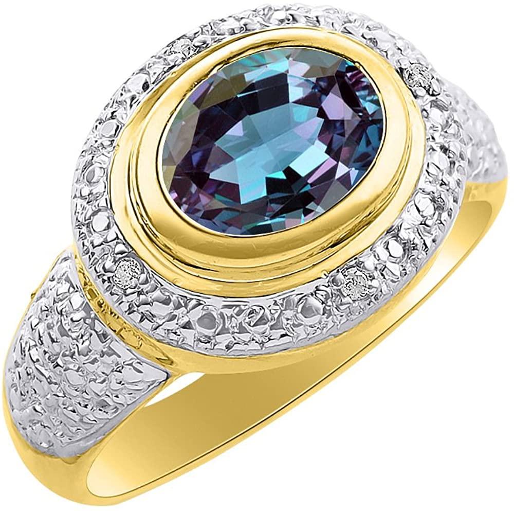 Diamond & Simulated Alexandrite Ring Set In 14K Yellow Gold - Diamond Halo - Color Stone Birthstone Ring