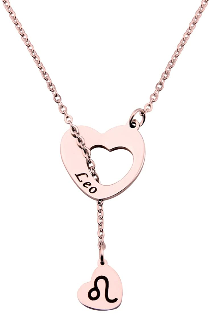 ENSIANTH Rose Gold Zodiac Signs Heart Necklace Stainless Steel Lariat Y Necklace Best Birthday Gift