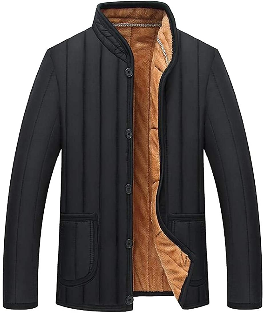 Xudcufyhu Men's Winter Fleece Warm Solid Color Thicken Cozy Quilted Jacket Coat Outerwear