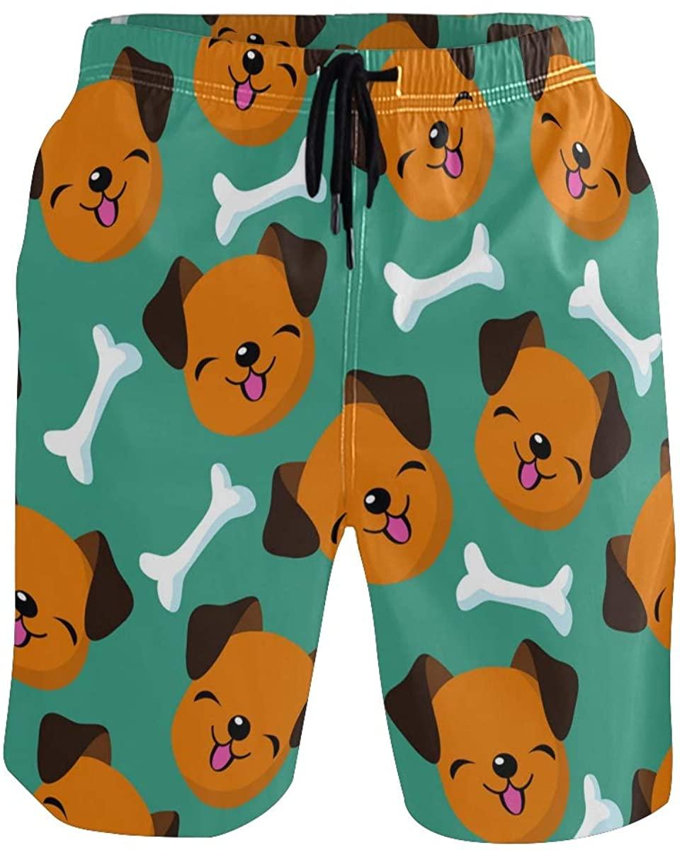 Sinestour Mens Swim Trunks Happy Dog Face Beach Swimwear Shorts with Pocket Beach Shorts
