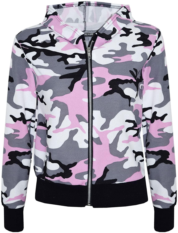 Kids Girls Jacket Designer Camouflage Print Baby Pink Hooded Jackets Coat 7-13 Y
