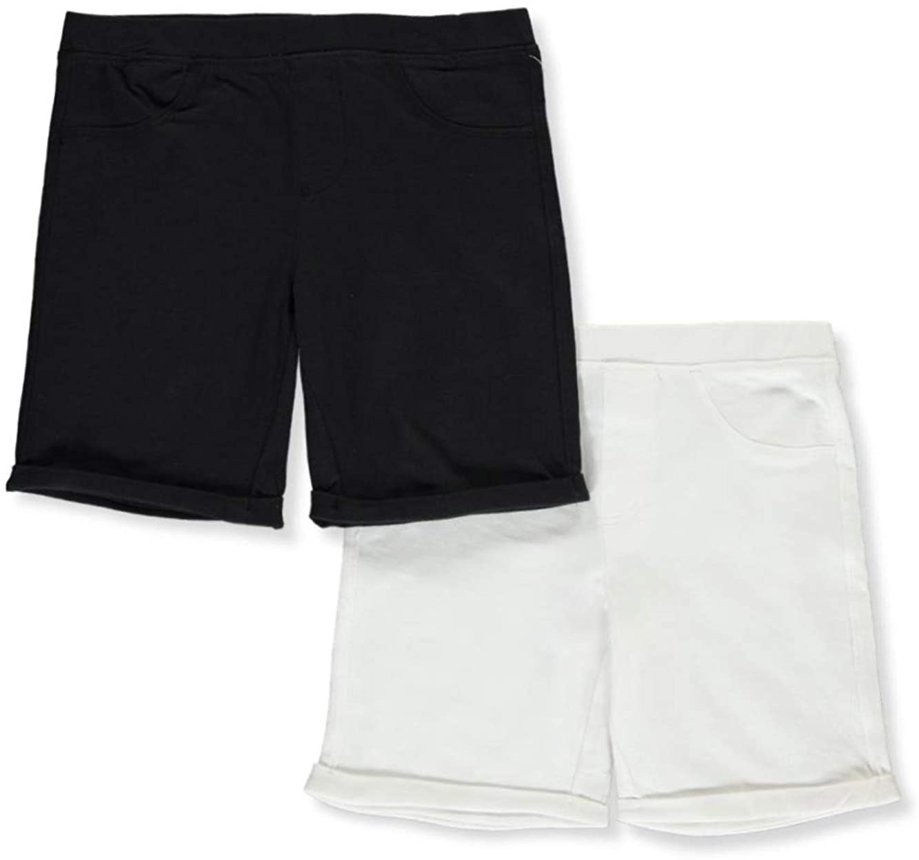 Dreamstar Big Girls Fleece 2-Pack Bermuda Shorts - White/Black, 7-8