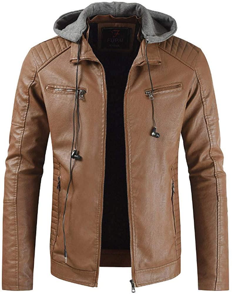 ZEFOTIM Men's Autumn and Winter Lapel Hooded Leather Jacket Plus Thick Coat