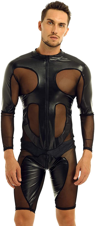 winying Mens Faux Leather Mesh Splice Long Sleeve Zipper Front Leotard Bodysuit Lingerie Jumpsuit Clubwear Black X-Large