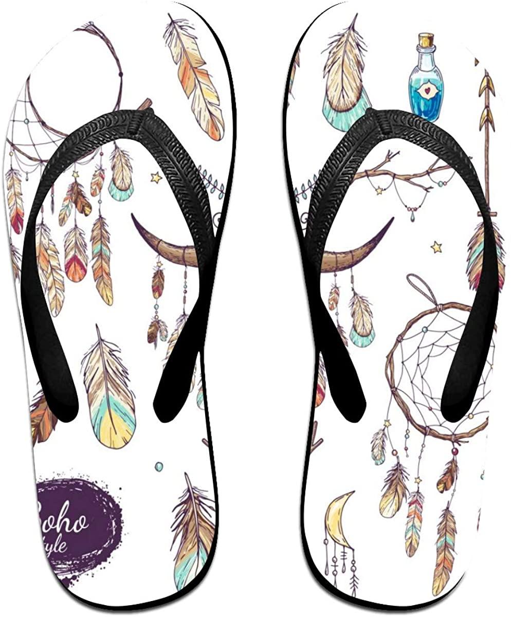 SLHFPX Mens Flip Flop Slippers Ethnic Bull Skull Rubber Cozy Flip Flops Outdoor Beach Sandals