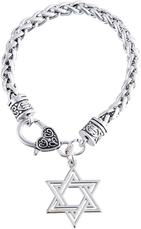 VASSAGO Jewish Star of David Amulet Talisman Charm Pendant Wheat Chain Bracelet