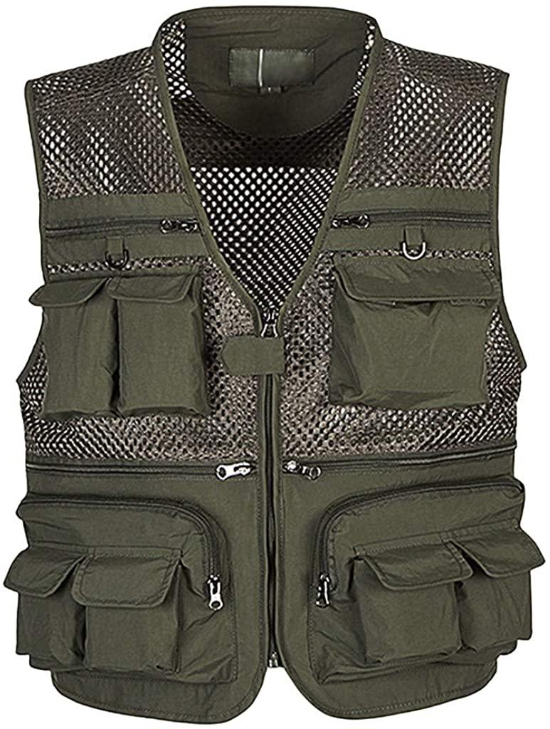 Landscap Men Vest Outdoor Multi-Pocket Mesh Vest Lightweight Travel Work Photography Fishing Vest Hunting Sports Vest