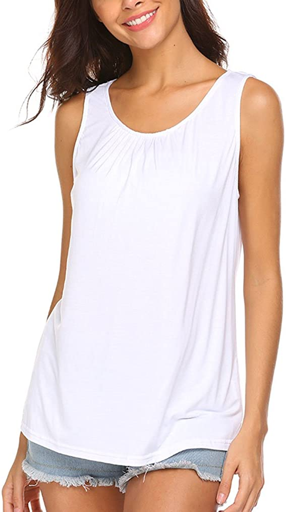 Locryz Women's Summer Sleeveless Pleated Tank Tops Casual Back Closure T-Shirts Tops