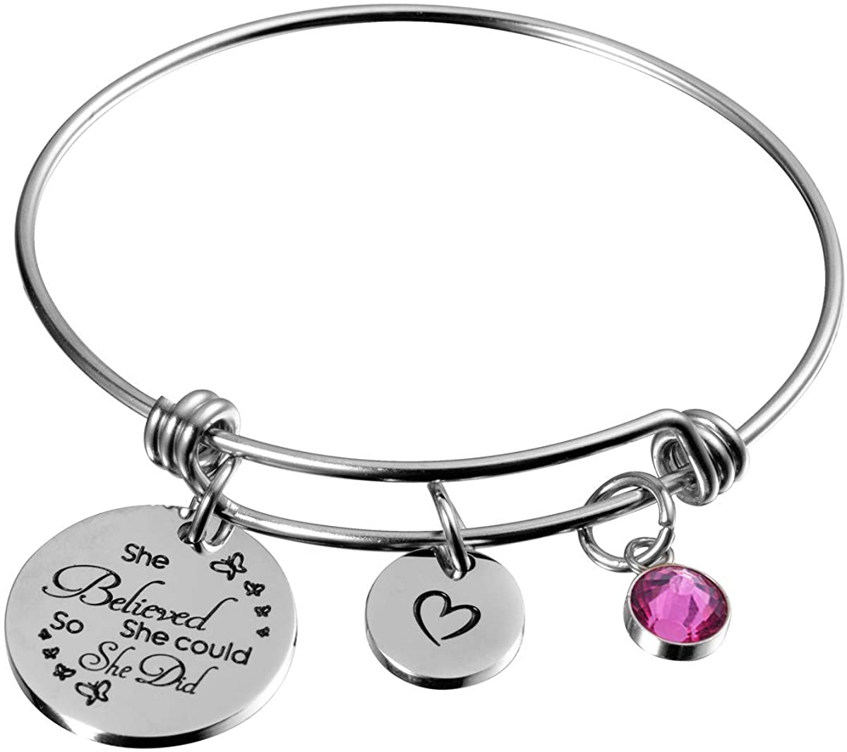 Raysunfook Birthstone Inspirational Gifts She Believed She Could So She Did Heart Charm Bracelets for Girls