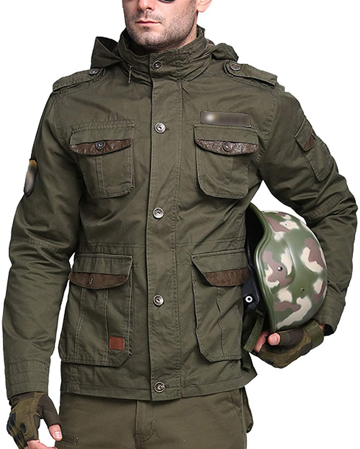 Flygo Men's Classic M65 Tactical Military Jacket Outdoor Multi-Pockets Windbreaker