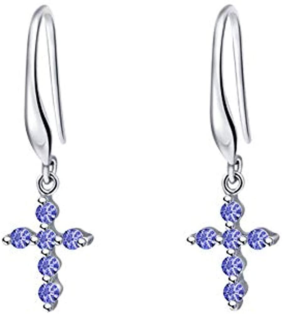 Trendzjewels 0.30 Ct Created Round Cut Blue Tanzanite Gemstone 925 Sterling Silver Cross Drop & Dangle Earrings for Women's & Girl's