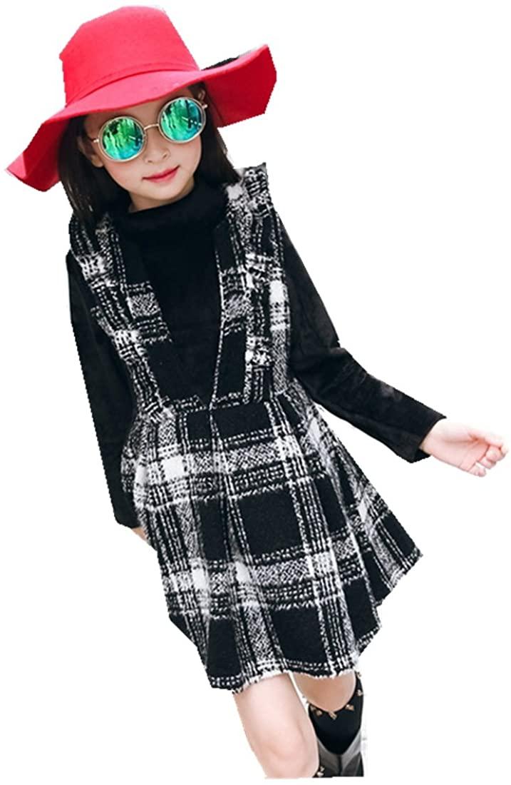 MV Autumn Winter Girls Woolen Dress Korean Children's Vest Skirt Two-Piece Suit