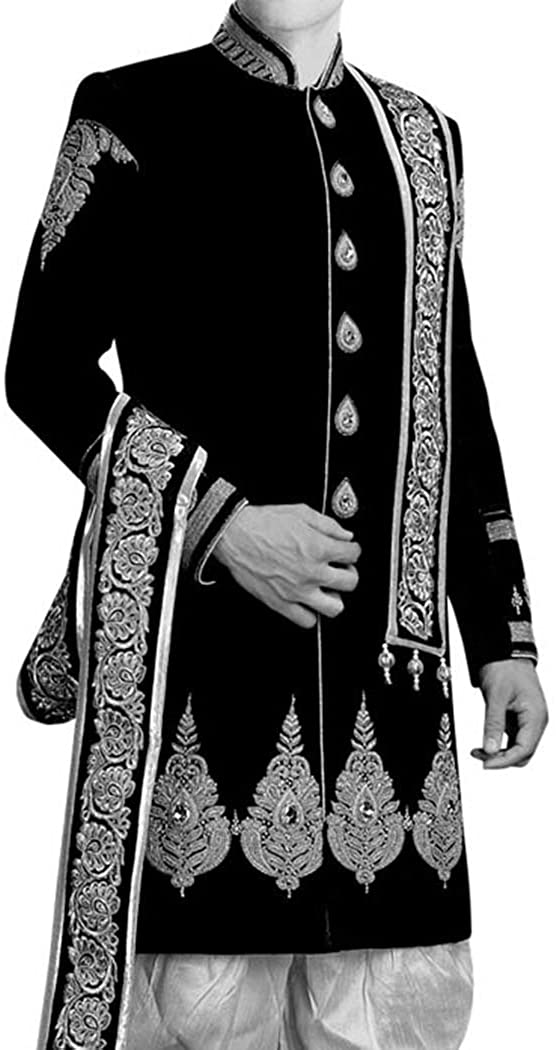 INMONARCH Mens Kurta for Jeans Black Wedding Sherwani Silver Embroidered IN0426R40 40 Regular Black