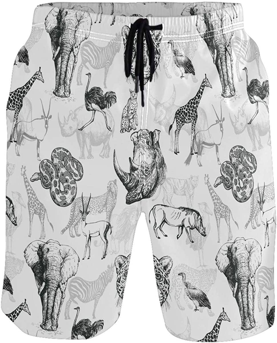 Men's Swim Trunks - African Asian Animals Beach Short Men Quick Dry Bathing Suit Shorts