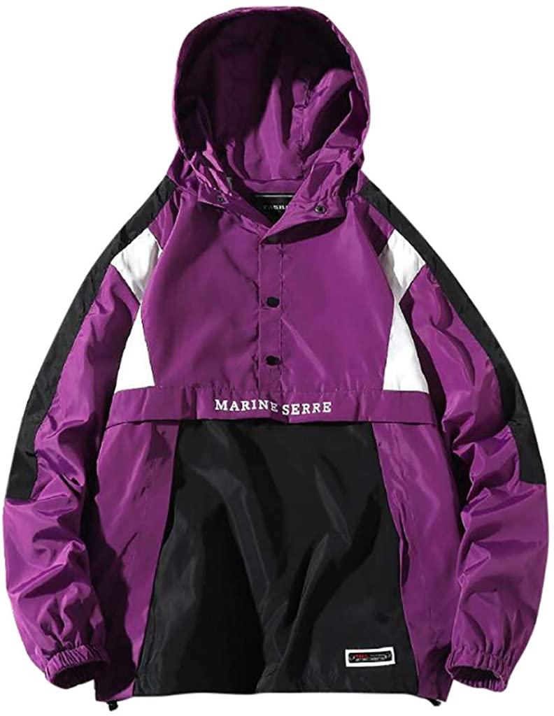 LIM&SHOP Mens Pullover Hooded Waterproof Lightweight Windbreaker Jacket Raincoat Outdoor Jacket Button-up Letter Purple