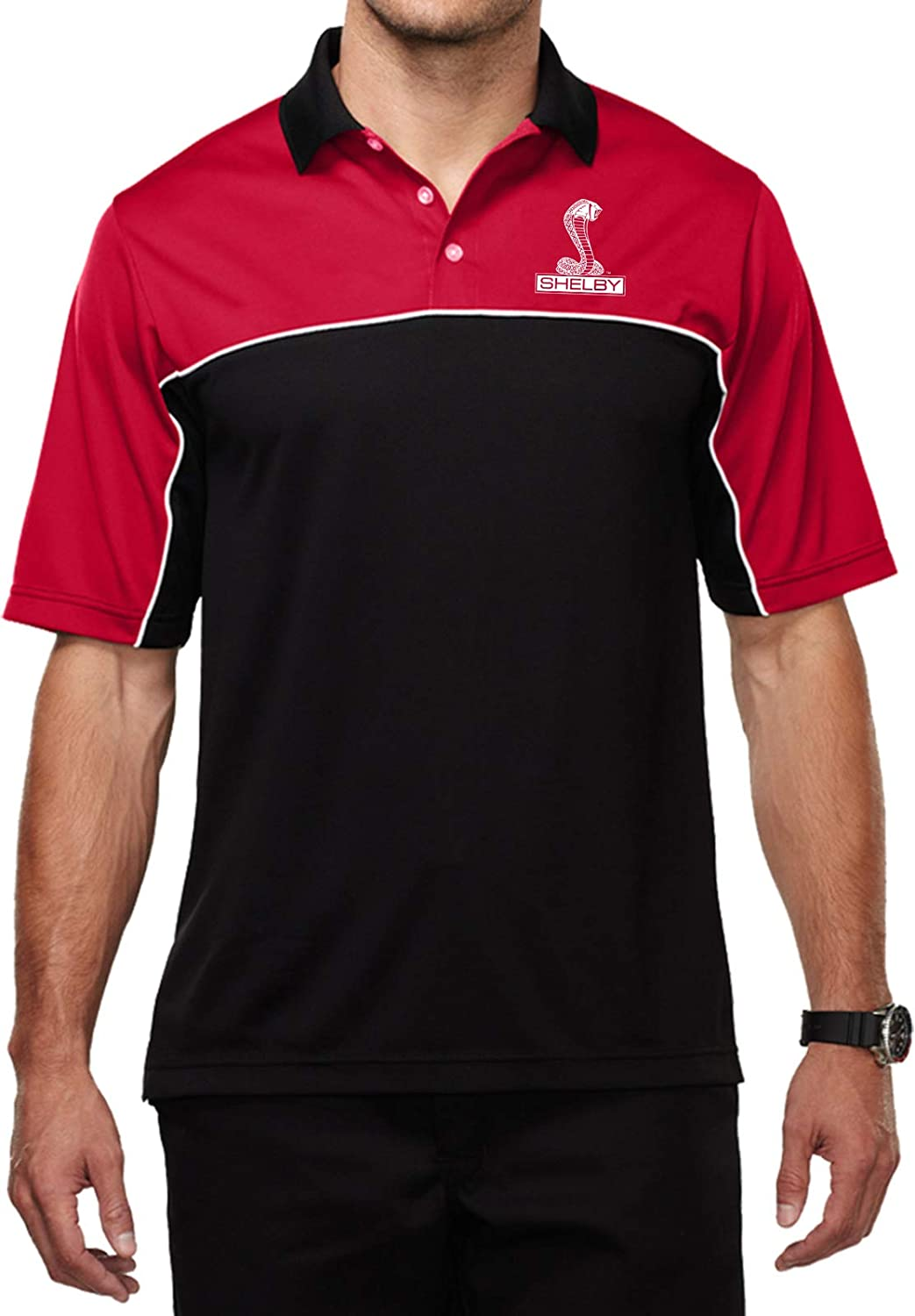 Ford Shelby Cobra Pocket Print Mens Moisture Wicking Polo, Red Small