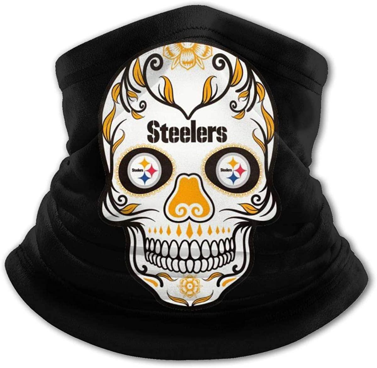 Head Scarf, Pittsburgh Steelers Skull Windproof Face Mask Headbands Bandana Head Wrap Balaclava for Youth Boys Girls
