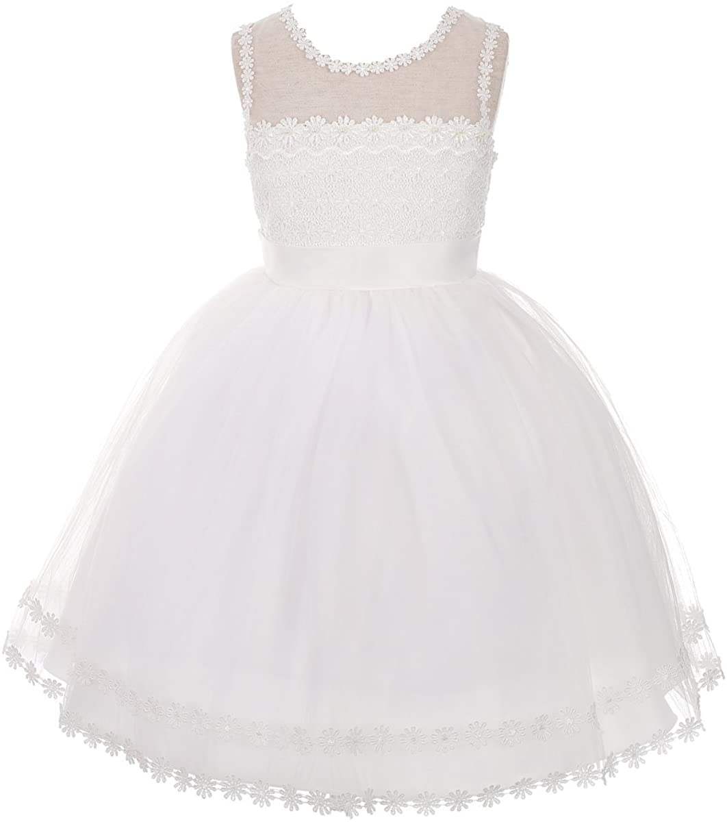 Dressy Daisy Girls' Embroidery Tulle Occasion Pageant Wedding Flower Girl Dress
