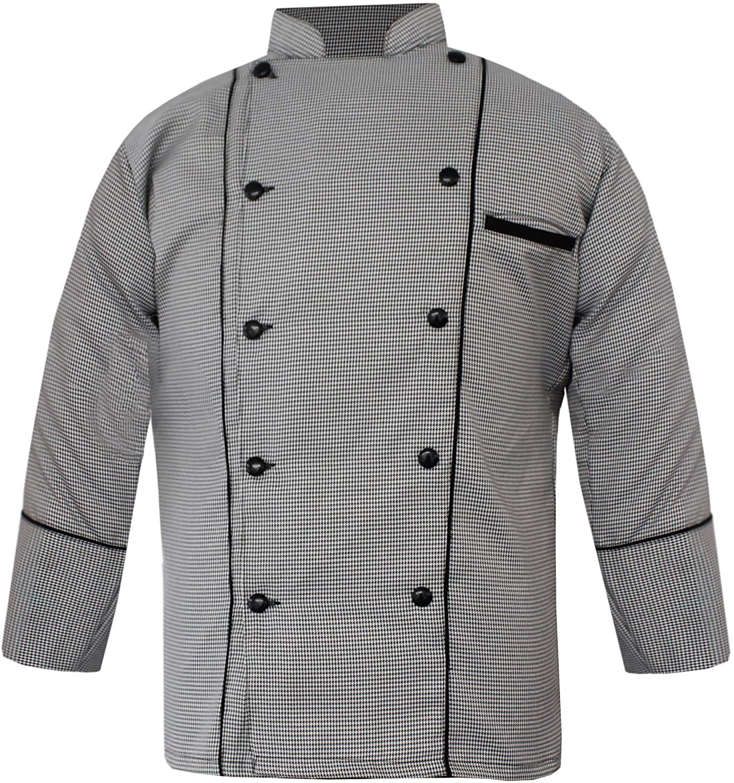 Leorenzo Nascency PN-08 Men Chef Jacket in Fine Check (12 Sizes)