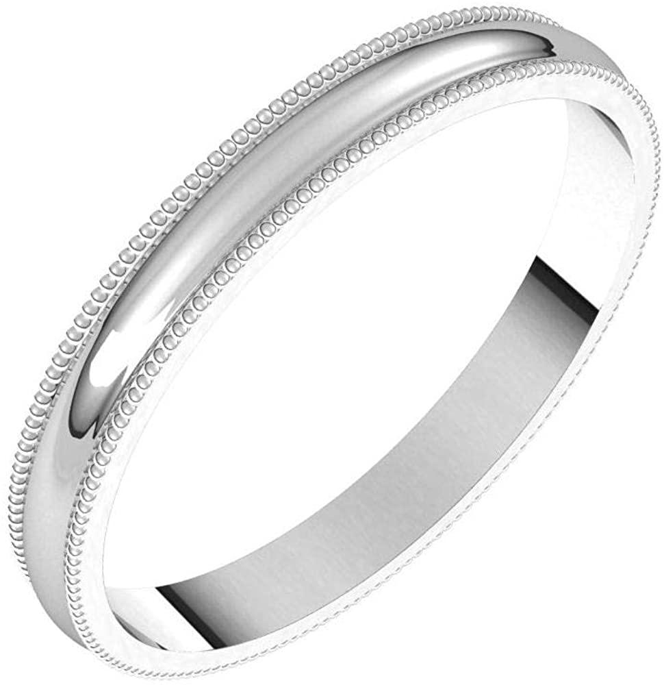 Tarnish Resistant Solid 925 Sterling Silver 2.5mm Milgrain Half Round Light Wedding Band Size 9