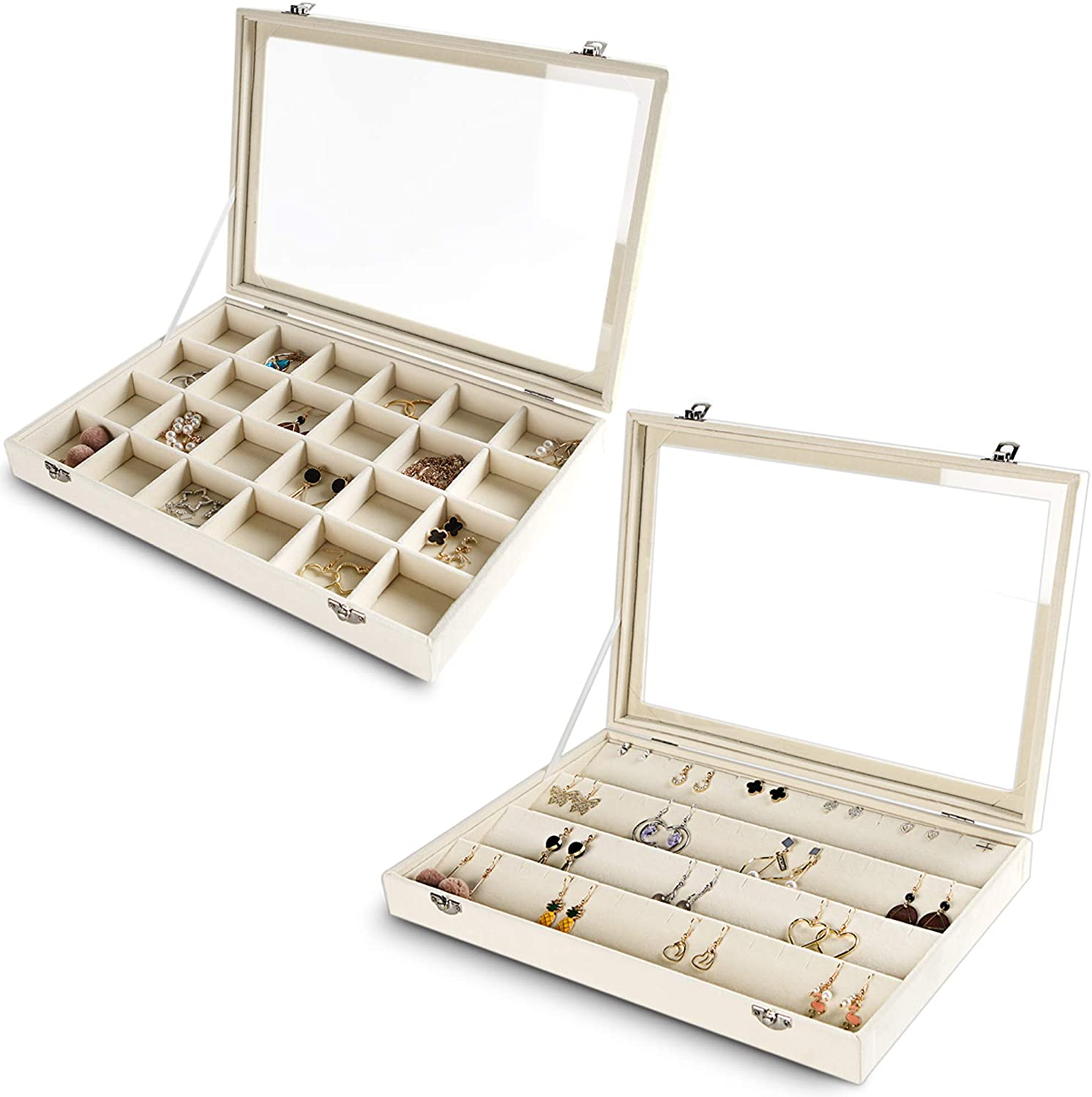 Jewelry Organizer Tray with Clear Lid Velvet Jewelry Storage box with Transparent Glass lid (Beige, 2 set)