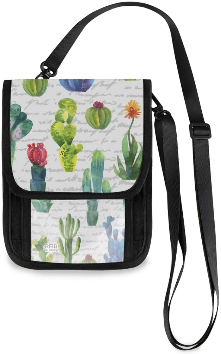Travel Wallet Neck Pouch - Cactus Watercolor Plant Passport Holder with RFID Blocking for Women Men Lightweight Passport Wallet